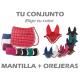 CONJUNTO ECONOMICO MANTILLA + OREJERAS